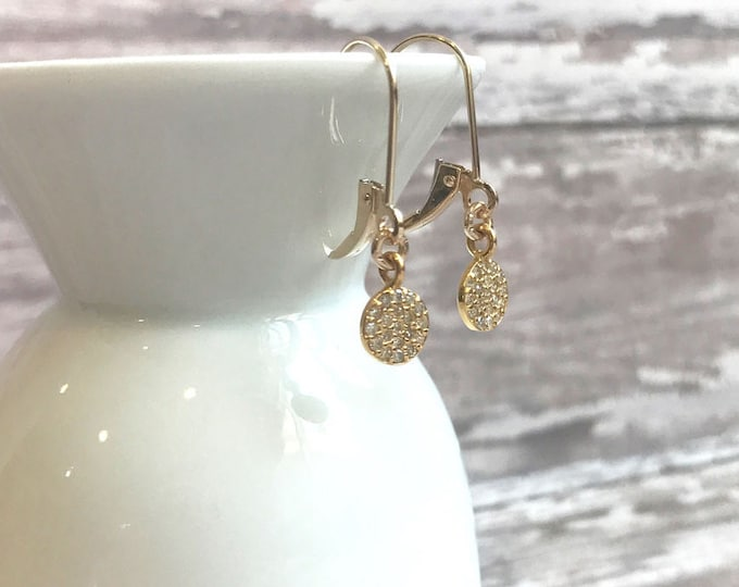 Solid 14 Kt gold and pave diamond earrings on Leverbacks