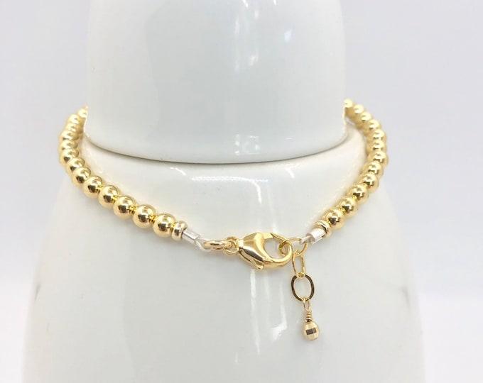 Solid 18 Karat Gold Bead Bracelet-4 mm