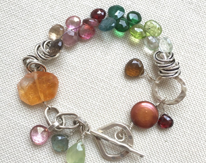 Chunky Gemstone Bracelet--Citrine, Tourmaline, Peridot on Sterling Silver