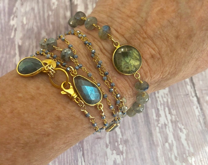 Long Labradorite Necklace or Bracelet, Long Layered Necklace, Bohemian Necklace