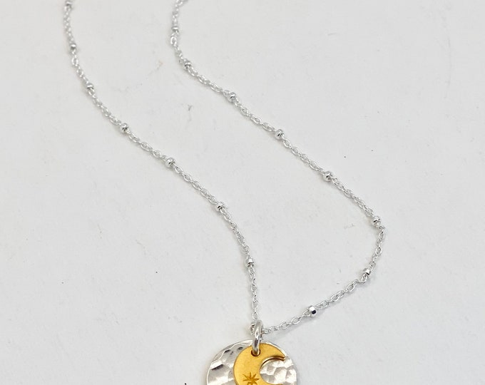 """Sun and Moon Charm Necklace 