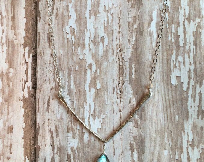 Silver Hammered Bar Necklace with Labradorite Drop