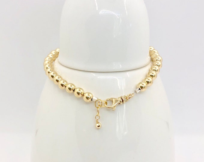 Solid 14 Karat Gold Bead Bracelet-5 mm