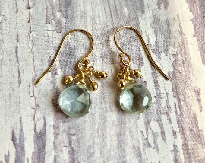 Aquamarine and Gold Earrings | 14 karat Gold Dangles | March Birthstone Earrings