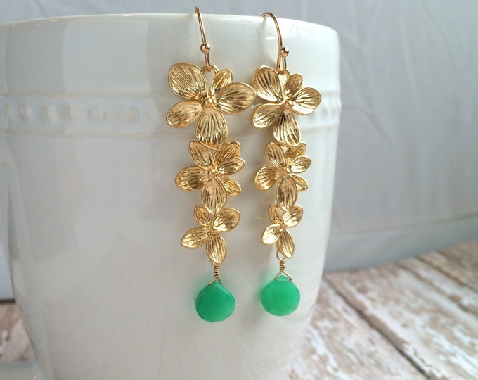 Green and Gold Gemstone Dangle Earrings--Gold Flowers with Green Chrysophrase Gems
