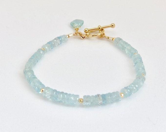 Aquamarine Gemstone Bracelet   March Birthstone   Aquamarine and Solid Gold Toggle