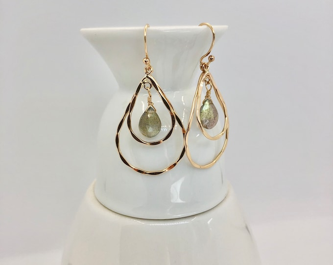 Gold and Labradorite Teardrop Tiered Earrings