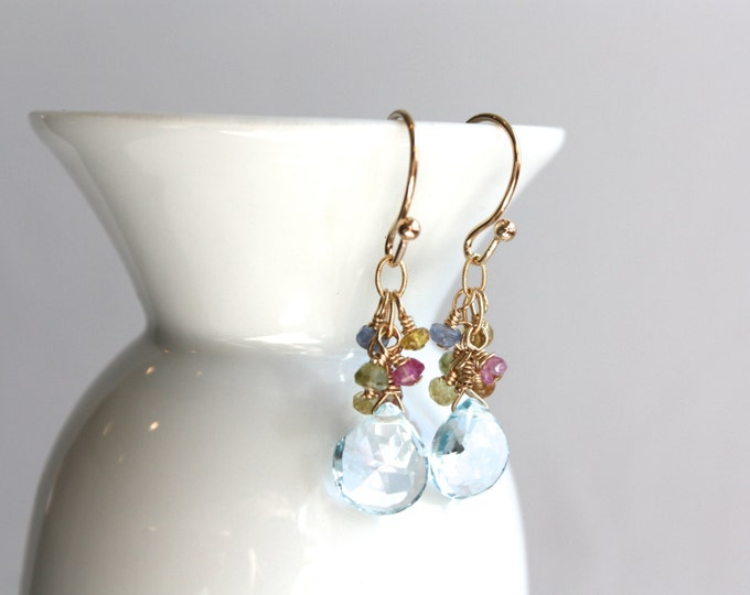Blue Topaz Gemstone and Gold Earrings