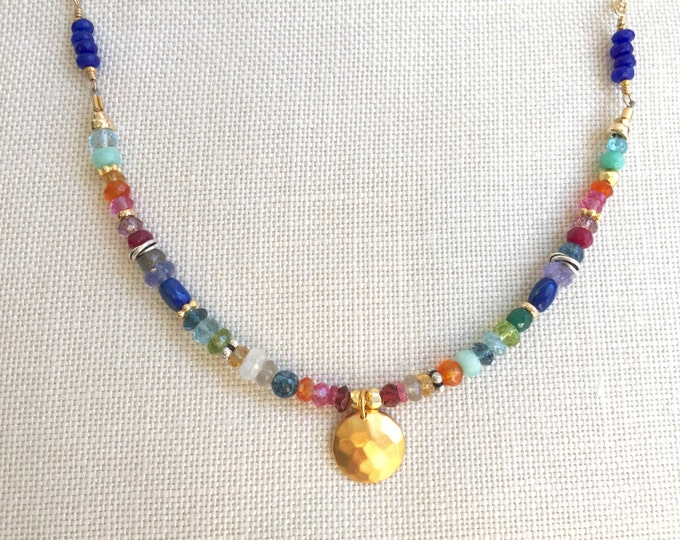 Multi Gemstone and Gold Necklace