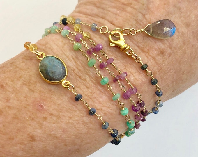 Multi Gemstone Wrap Bracelet