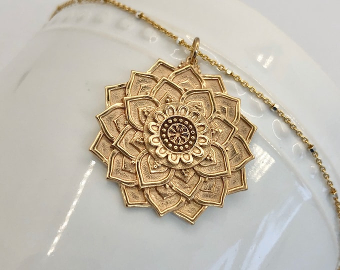 Bronze Lotus Mandala Pendant Necklace