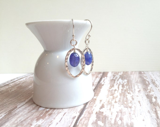Tanzanite and Silver Hoop Earrings