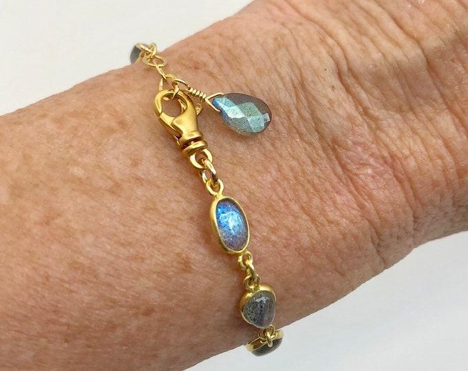 Gold and Labradorite Link Bracelet