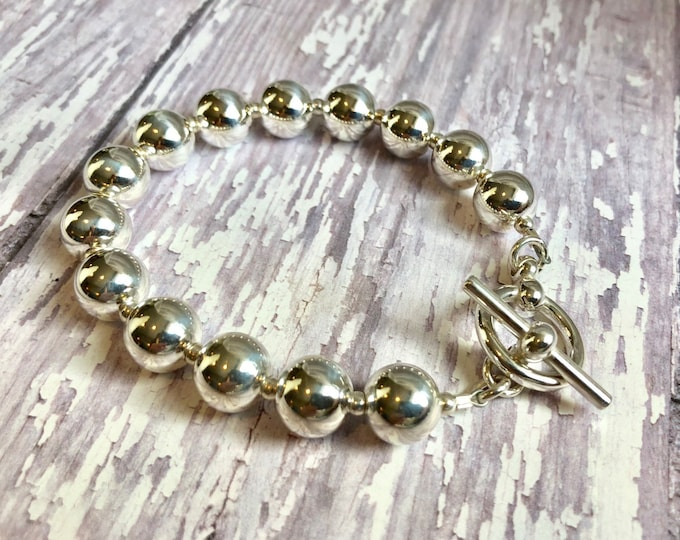 Solid Sterling Silver Bead Bracelet --10 mm round