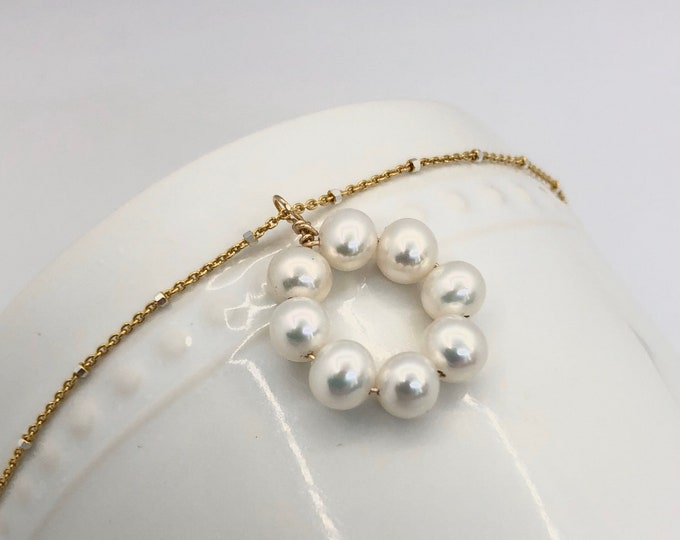Pearl Flower Necklace | Gold or Silver