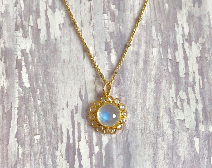"Moonstone and Gold Necklace | Moonstone and Lapis Pendant | 18"" Length"