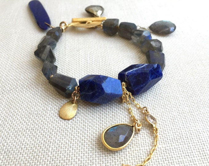 Chunky Lapis and Labradorite Bracelet--Vermeil Toggle Bracelet with Charms
