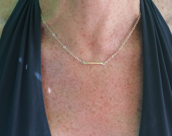 Tiny Silver Bar Necklace--Perfect for Layering