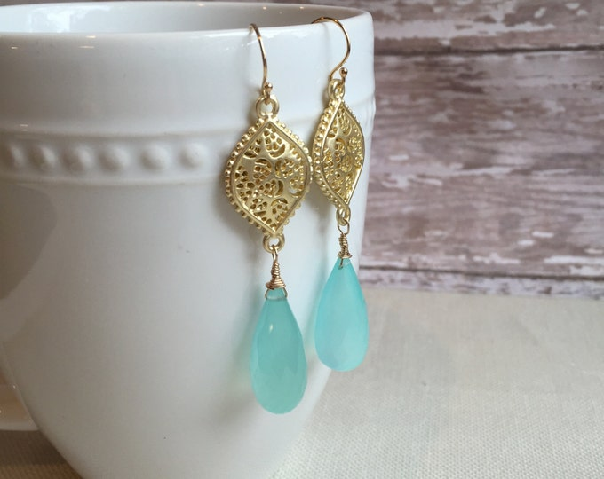 Gorgeous Aqua Green Chalcedony and Gold Statement Earrings