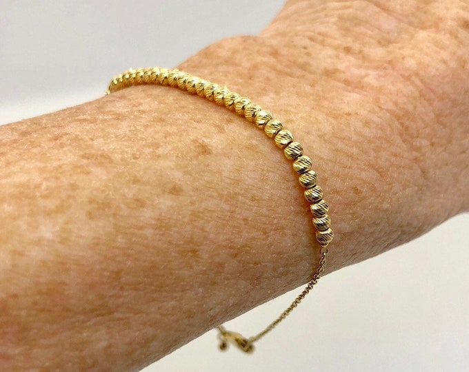 Solid 14k Gold Beaded Bracelet