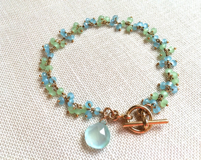 Mint and Aqua Wire Wrapped Gold Bracelet.  Blue and Green Chalcedony Dangle Bracelet