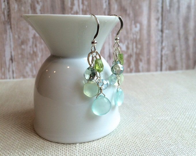 Blue Green Gemstone Earrings--Aqua Chalcedony, Peridot, Blue Topaz Dangle on French Wires