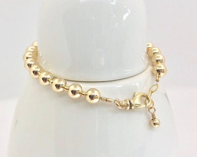 Solid 14 Karat Gold Round Beaded Bracelet-6 mm