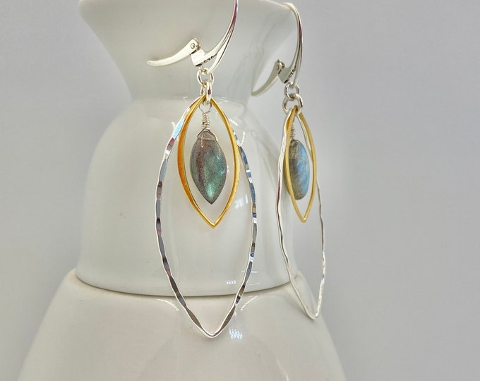 Marquis Hoop Earrings | Mixed Metal Earrings | Gold, Silver and Labradorite