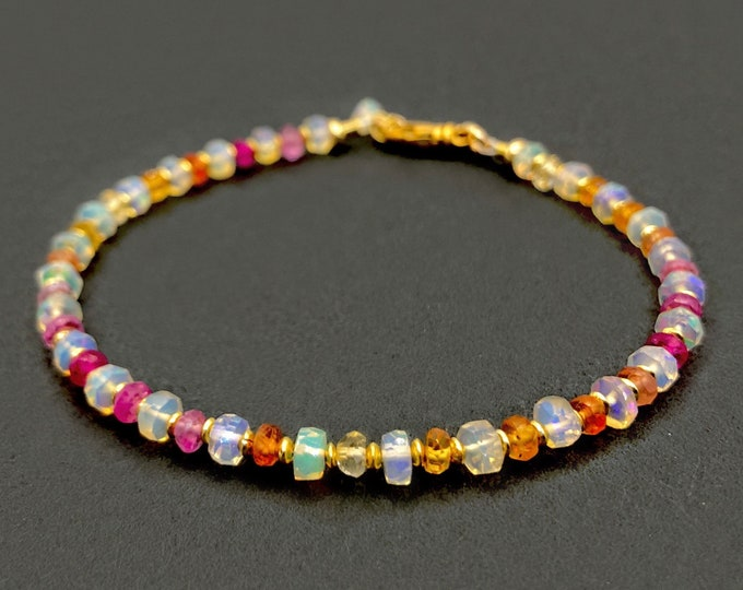 Opal and Rainbow Sapphire Bracelet | October Birthstone