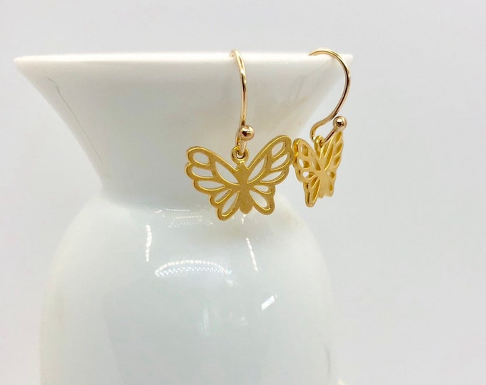 Matte Gold Butterfly Earrings