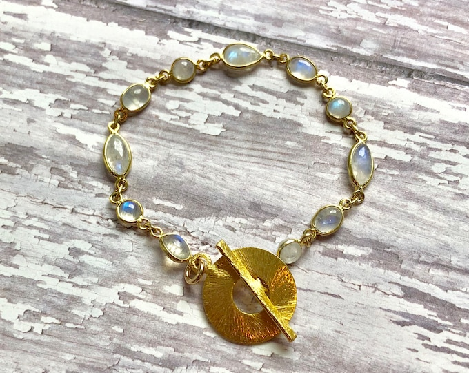 Rainbow Moonstone and Vermeil Gold Bracelet