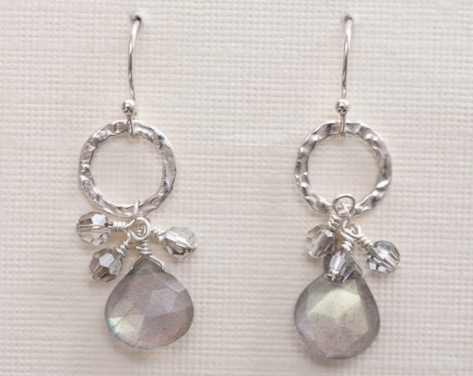 Labradorite Gemstone Dangle Earrings, Silver Drop Earrings--Brilliant!