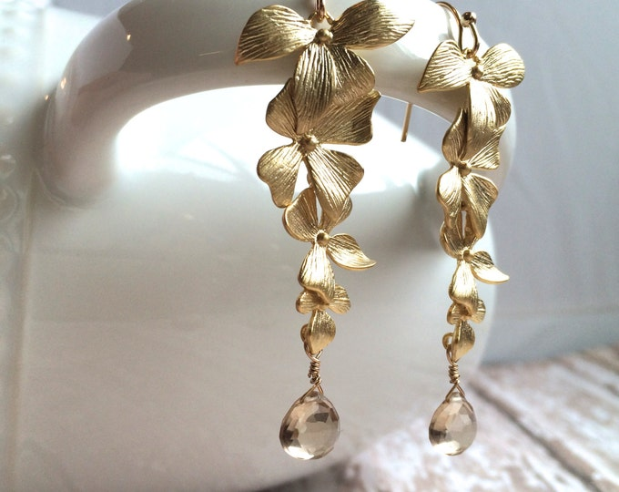 Champagne Citrine Dangle Earrings, Perfect Golden Floral Earrings for Bridesmaids