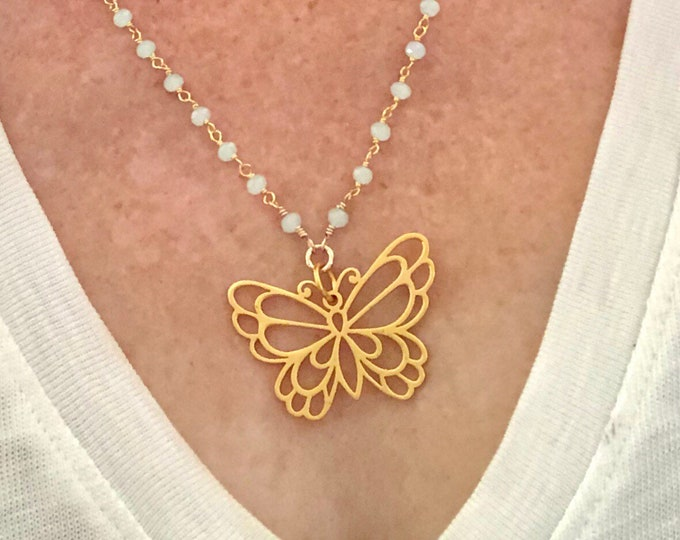 Gold Butterfly Charm on Aqua Chalcedony Chain
