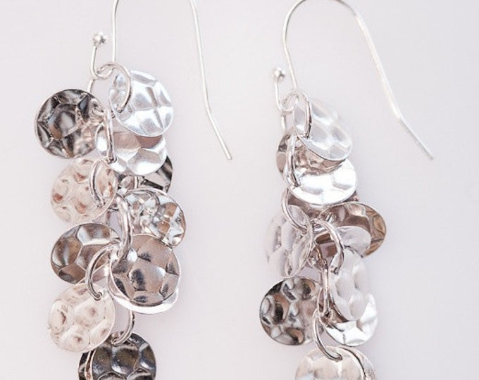 Rhodium Metal Sequin Earrings--Looks like Silver but Never Tarnishes