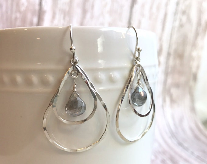 Silver and Labradorite Teardrop Dangle Earrings