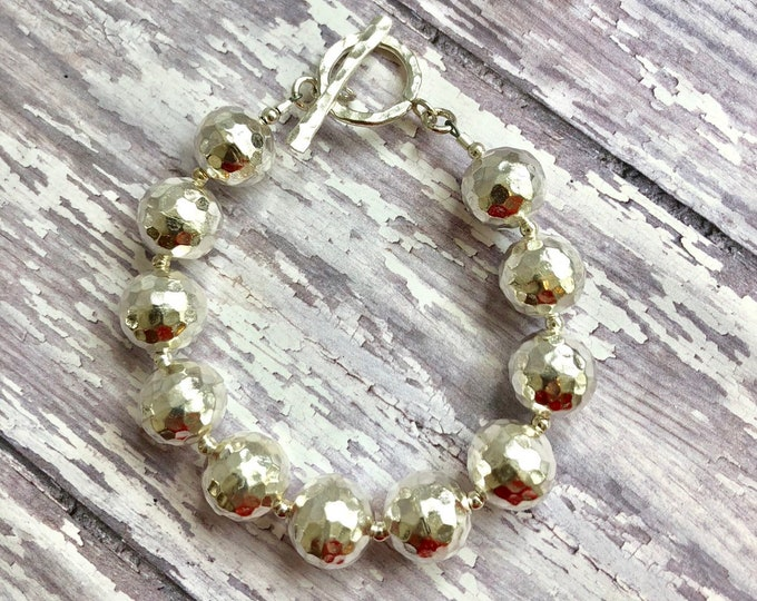 Round Hammered Silver Bead Bracelet