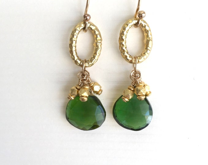 Gold and Green Quartz Earrings