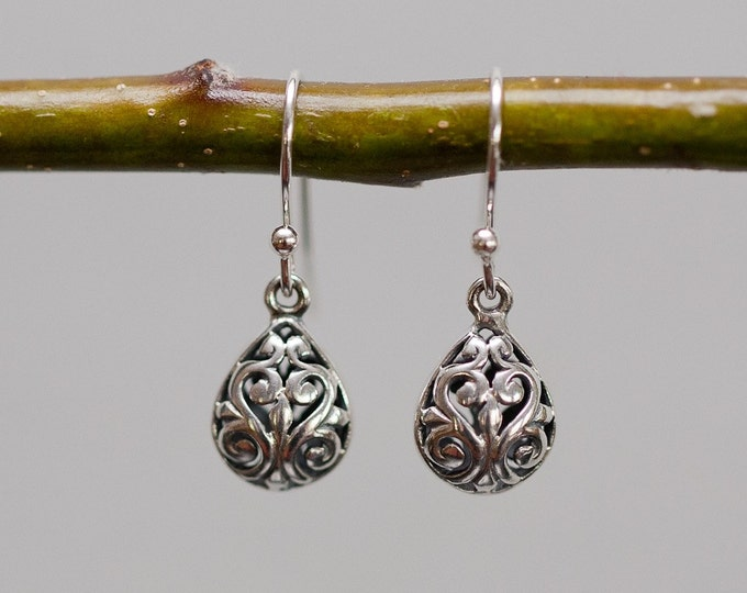 Silver Filagree Drop Earrings--Bali Silver Scrollwork Earrings