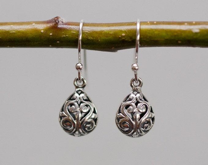 Silver Filagree Drop Earrings--Bali Silver Scrollwork Earrings