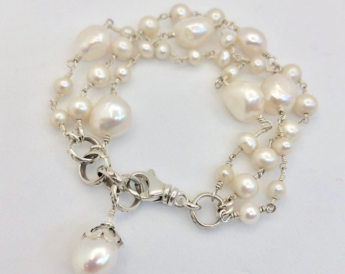 Chunky Pearl Bracelet--Wire Wrapped White Pearls