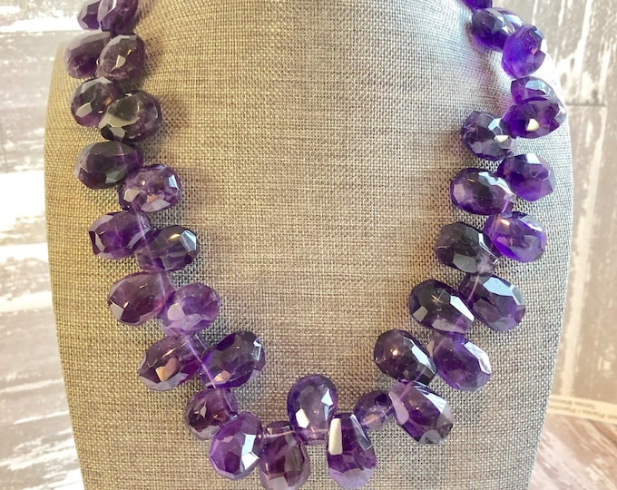 Chunky Amethyst Bib Necklace| February Birthstone Necklace
