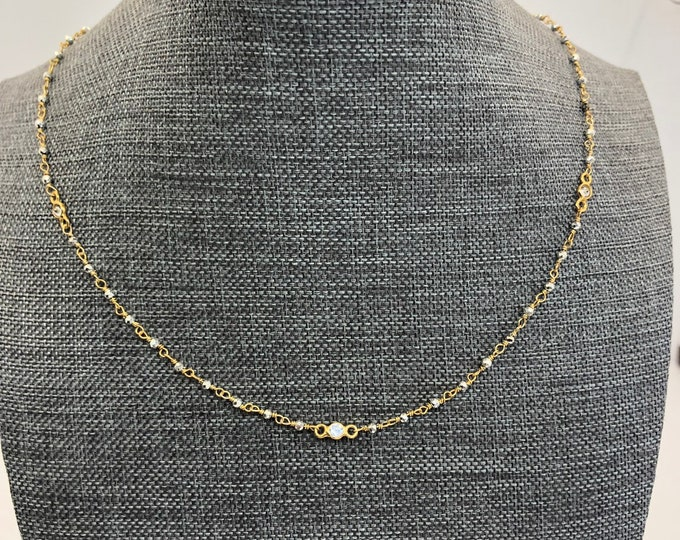 Simple Layering Gold Chain with Tiny Pyrite and Topaz
