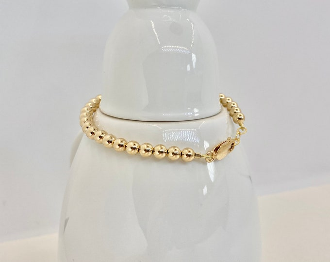 5 mm Round Gold fill Bracelet | Classic Round Bead | Tiffany Style
