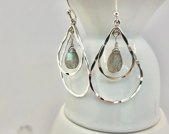 Labradorite and Sterling Teardrop Tiered Earrings