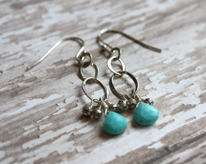 Silver and Turquoise Dangle Earrings with Pyrite Drops