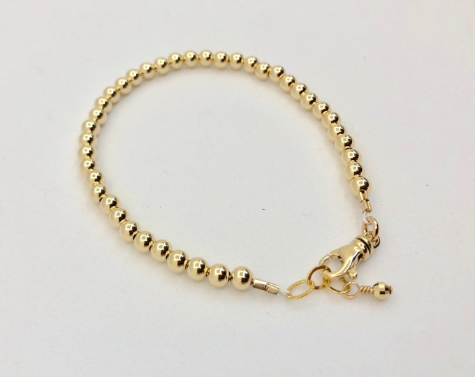 14 Karat Gold Bead Bracelet--3 mm Round