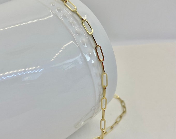 """14 Karat Gold Paperclip Chain Necklace 18"""""""