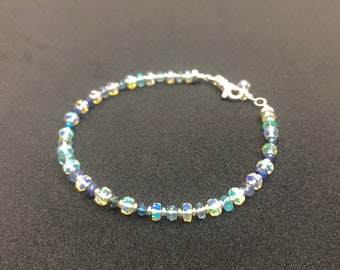 Opal and Sapphire Bracelet   October Birthstone   September Birthstone   Gold or Silver Finish