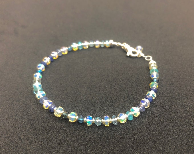 Opal and Sapphire Bracelet | October Birthstone | September Birthstone | Gold or Silver Finish